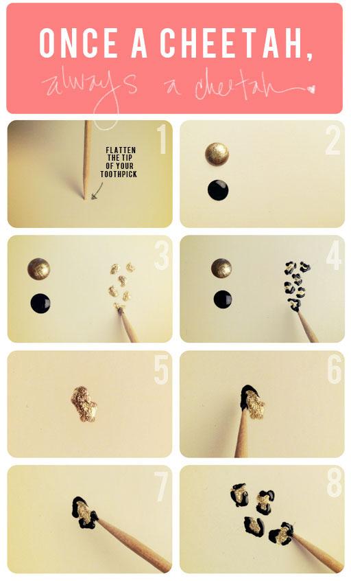 Нарисовать леопардовый рисунок ногтях