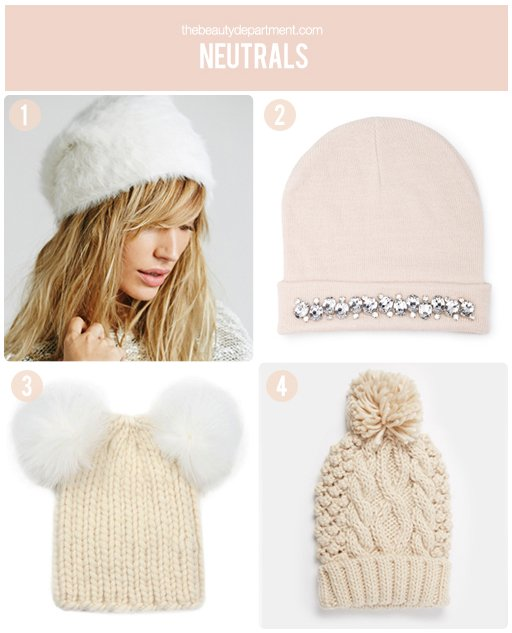 the beauty department neutral beanies