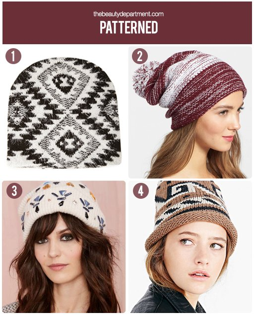 the beauty department patterned beanies