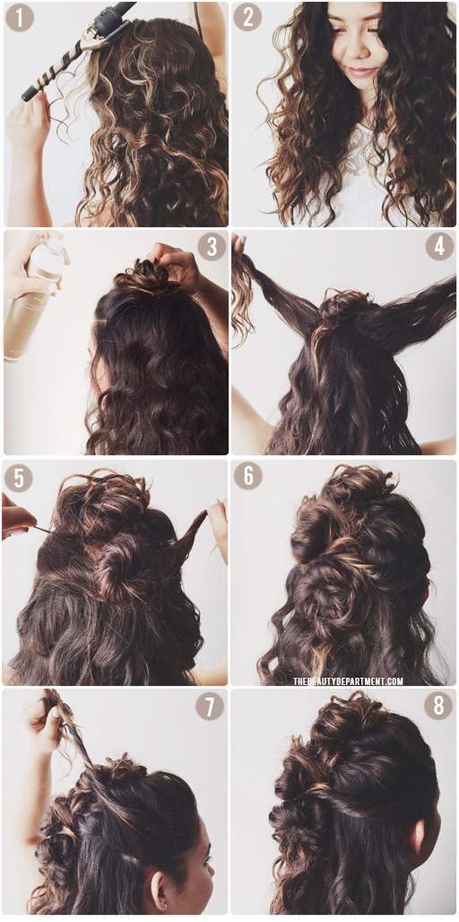 Curly hairstyle: elegant prom half updo hairstyle curly hair.