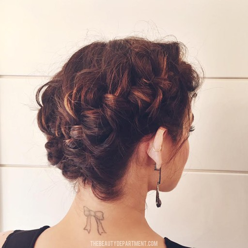 braided updo on a bob lucy hale people's choice 2016