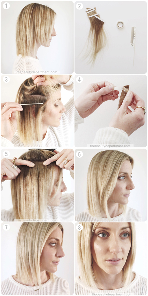 tape extension tutorial steps thebeautydepartment.com